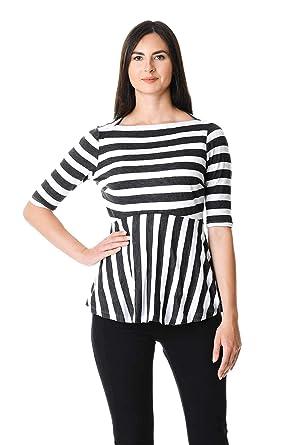 b8fc2f62763 eShakti Women s Stripe cotton knit peplum top UK Size 06   Regular height  Charcoal white