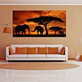 Large Canvas Wall Art Pictures for Contemporary Home Decor Print, Kitchen, Room,Living Room DIY Decoration Sunset Trees Elephants