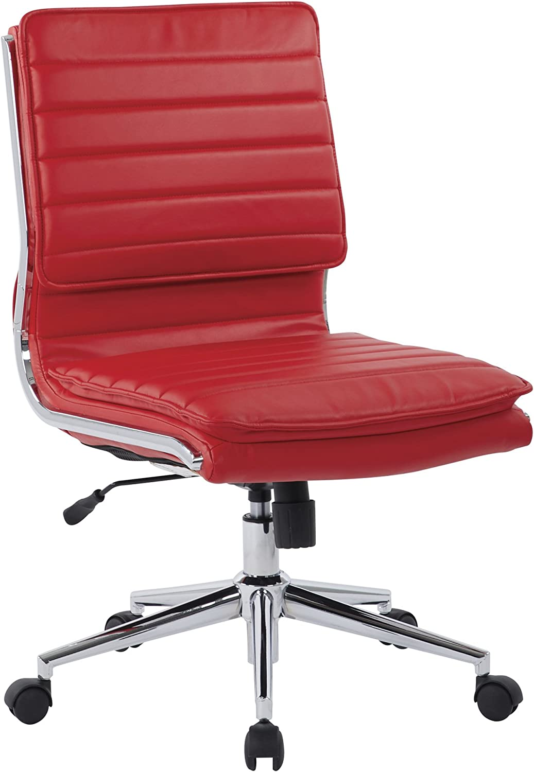 Office Star Faux Leather Armless Mid Back Managers Chair with Chrome Base, Red