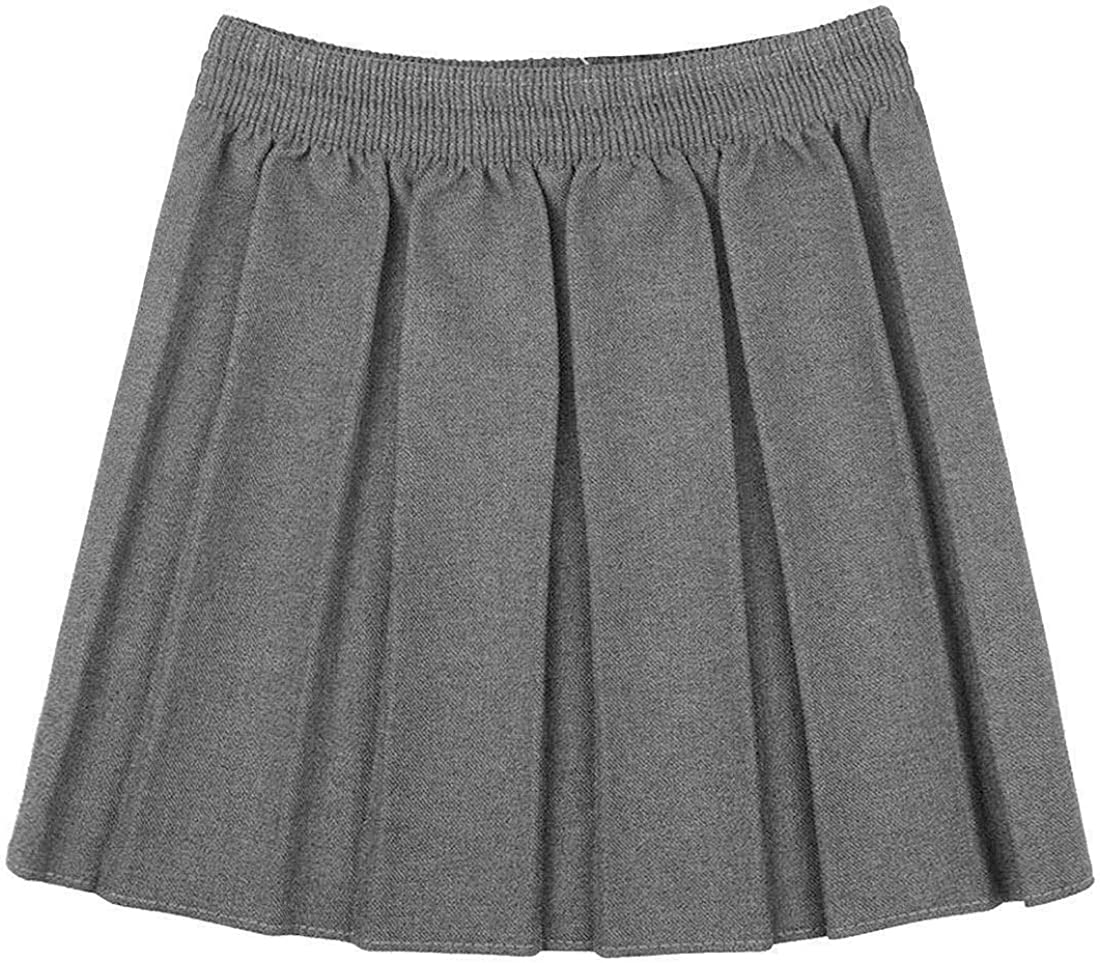 DigitalSpot Girls Box Pleated School Uniform Mini Skirt Kids Child Elastic Waist Plain Skirt
