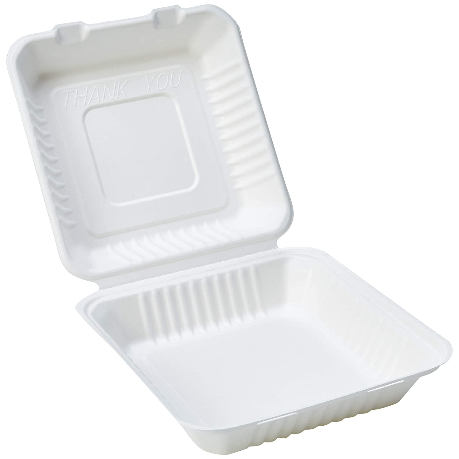 "AmazonBasics Compostable Clamshell Hinged Food Container, 9.2"" x 9"" x 3"", Pack of 200"