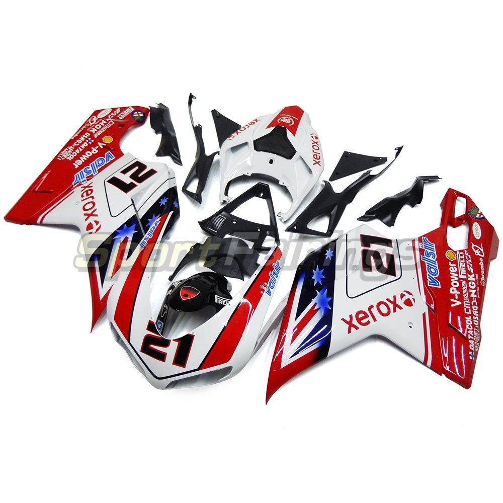sportfairings moto Inyección ABS Kits de carenado para Ducati 1098 848 1198 año 2007 2008 2009 2010 2011 2012 blanco rojo 21 embellecedores: Amazon.es: ...