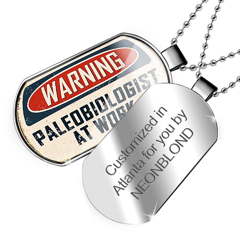 NEONBLOND Personalized Name Engraved Warning Paleobiologist at Work Vintage Fun Job Sign Dogtag Necklace