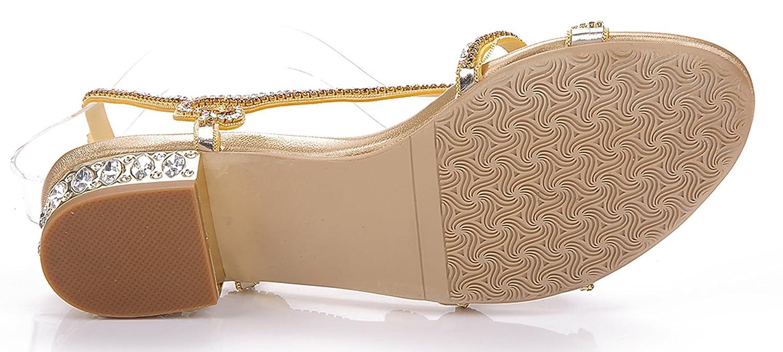 Honeystore Women's Leaf Patern Rhinestone Flat Sandals Slingback Slip On Shoes B01J3QE0MA 4.5 B(M) US|Gold