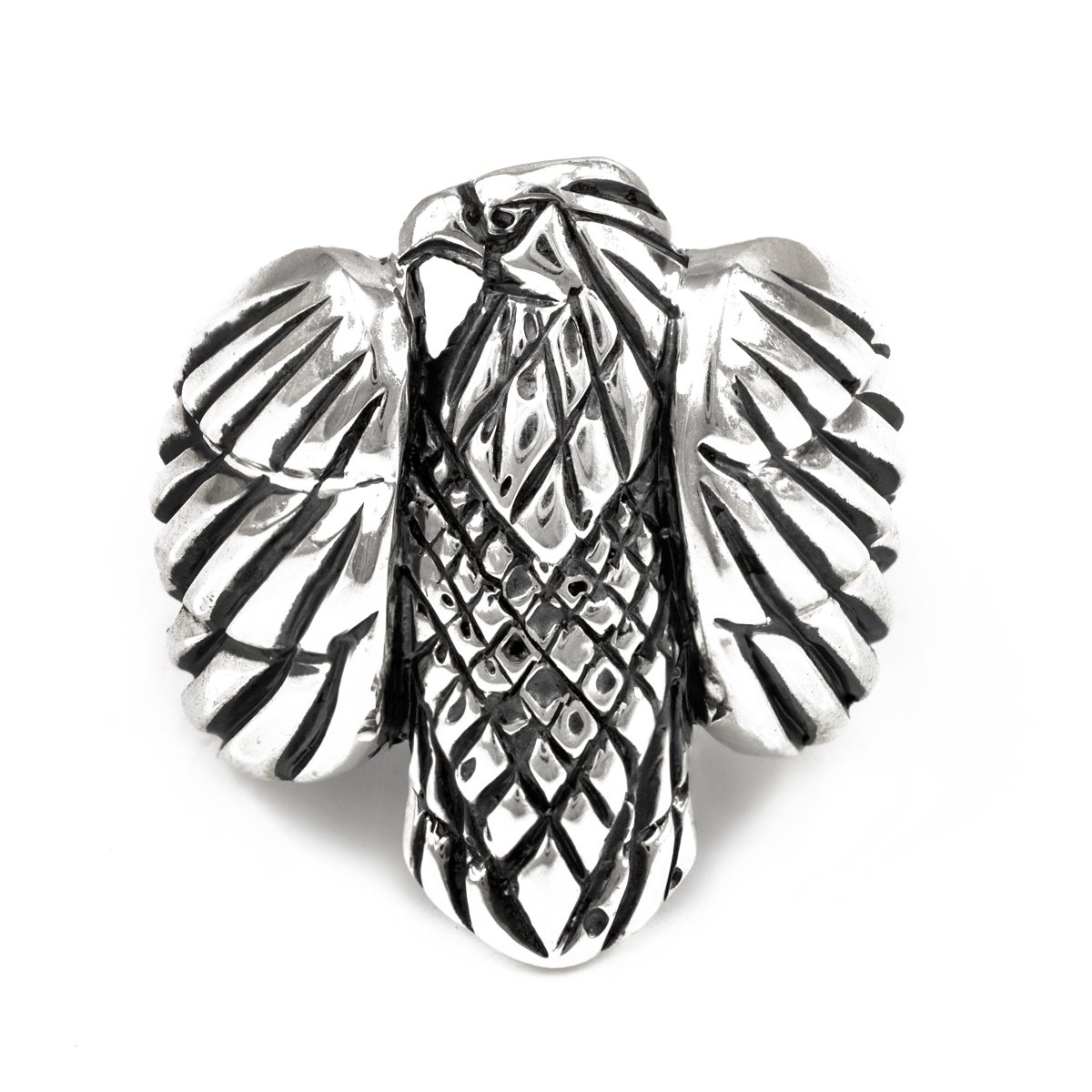 Polished 925 Sterling Silver American Eagle Men's Ring (Size 9)