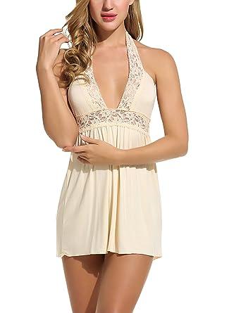 98722c42604 Avidlove Women Lingerie Lace Chemise Sleepwear Babydoll Set Mini Dress (L