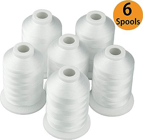 Nueva simthread 6 color blanco hilo de poliéster para máquina de ...