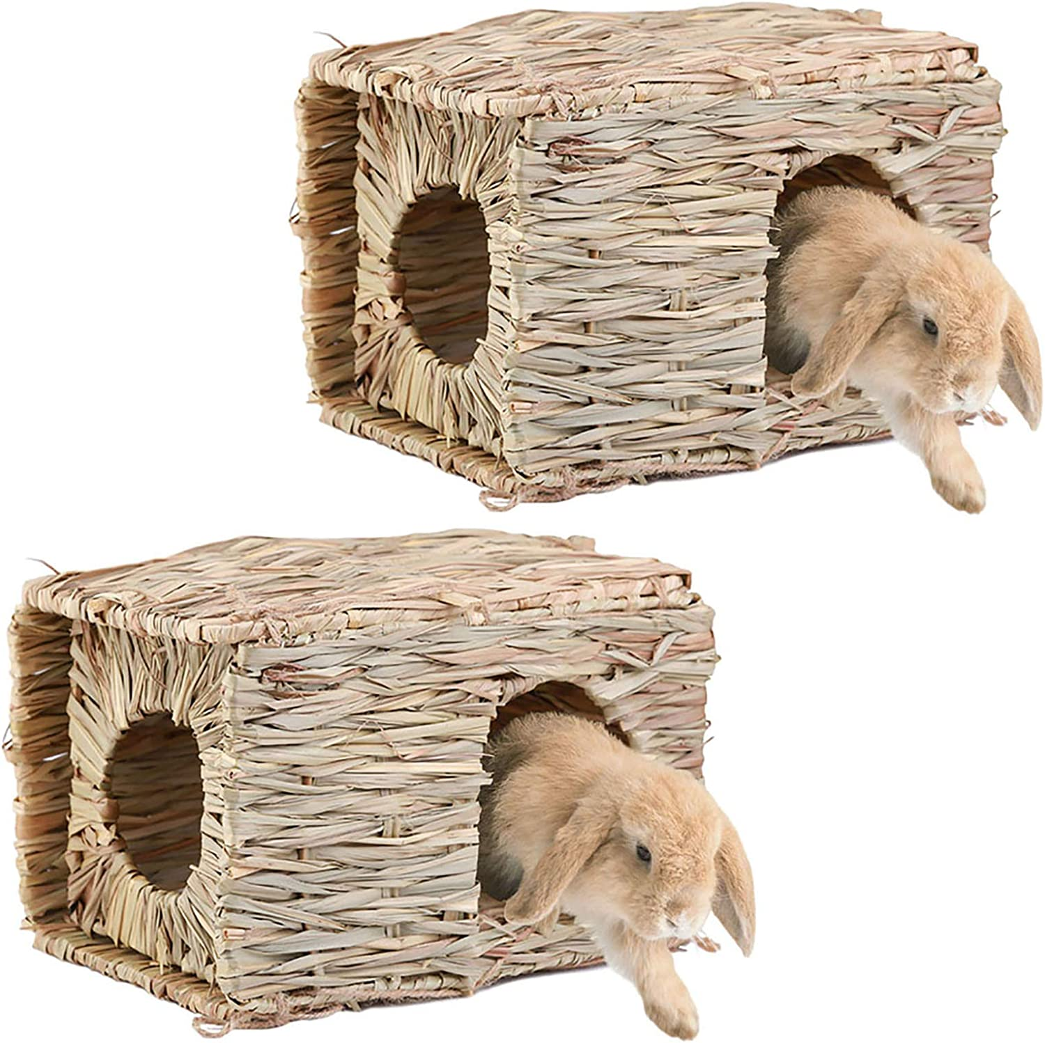Natural Hand Woven Seagrass Hay Hut Foldable Toy Hut for Play and Sleep Guinea Pigs Small Animals Hideaway Hut Toy for Bunny Chinchilla DGSL Grass House for Rabbit