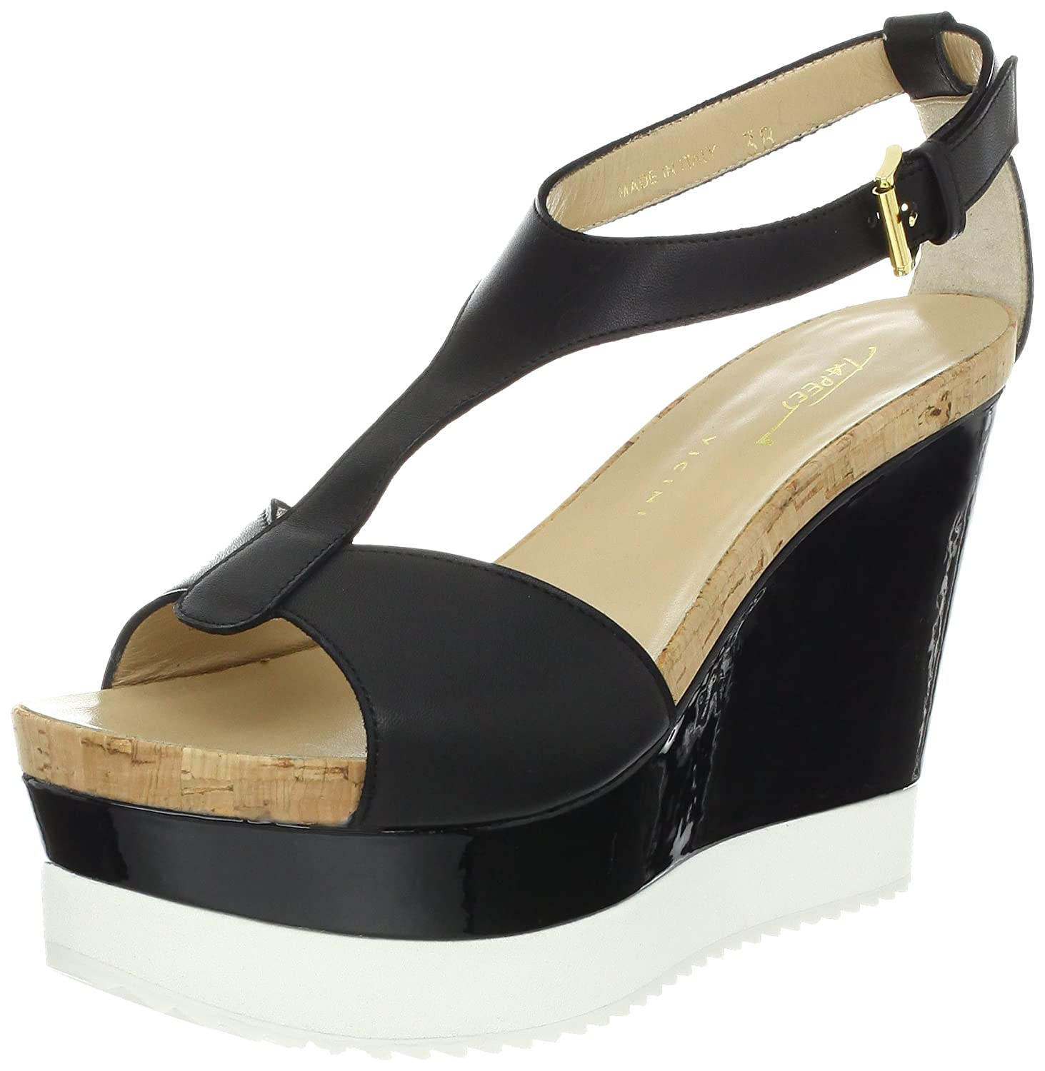 Tapeet by Vicini Women's T-Strap Platform Wedge Sandal B009K3V64M 7 B(M) US|Vitello Nero