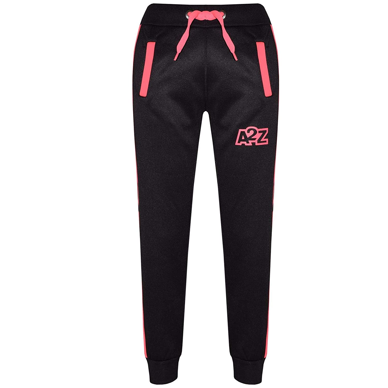 A2Z 4 Kids Kinder Unisex Trainingsanzug Neon Rosa Designer Kontrast Panel Kreuz Streifen Rei/ßverschluss Top Kapuzenpullover /& Bottom Jogging Anzug Joggers Alter 5-13 Jahre