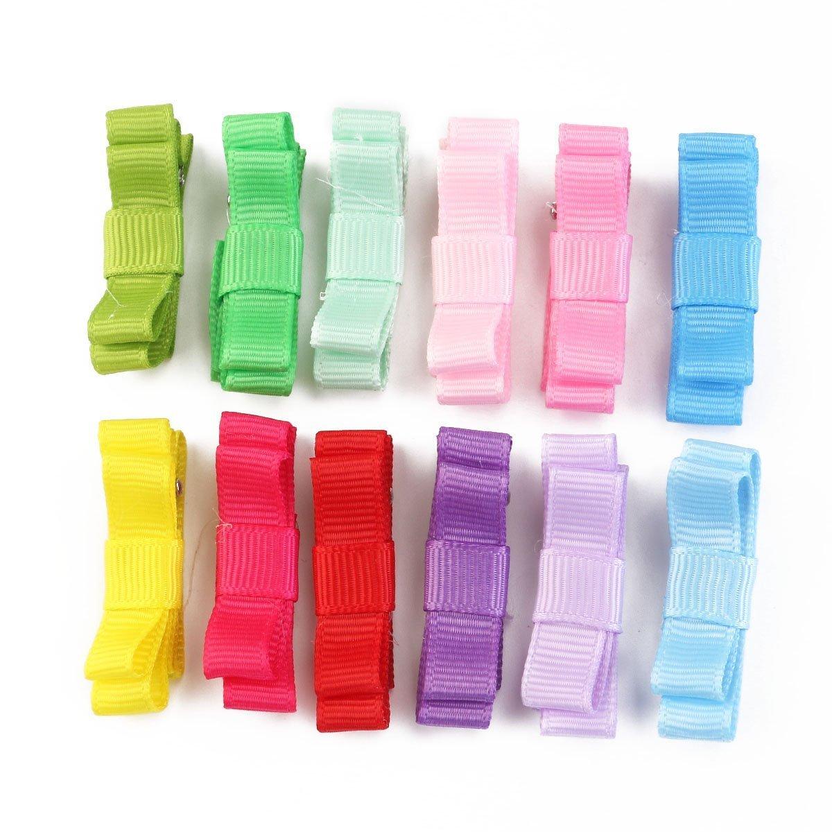 RFGTYBDD Delicado 12pcs Lindos del Pelo Arcos Pinza de cocodrilo Cinta Pinzas de Pelo Adornos para el Pelo para niños (Color al Azar)