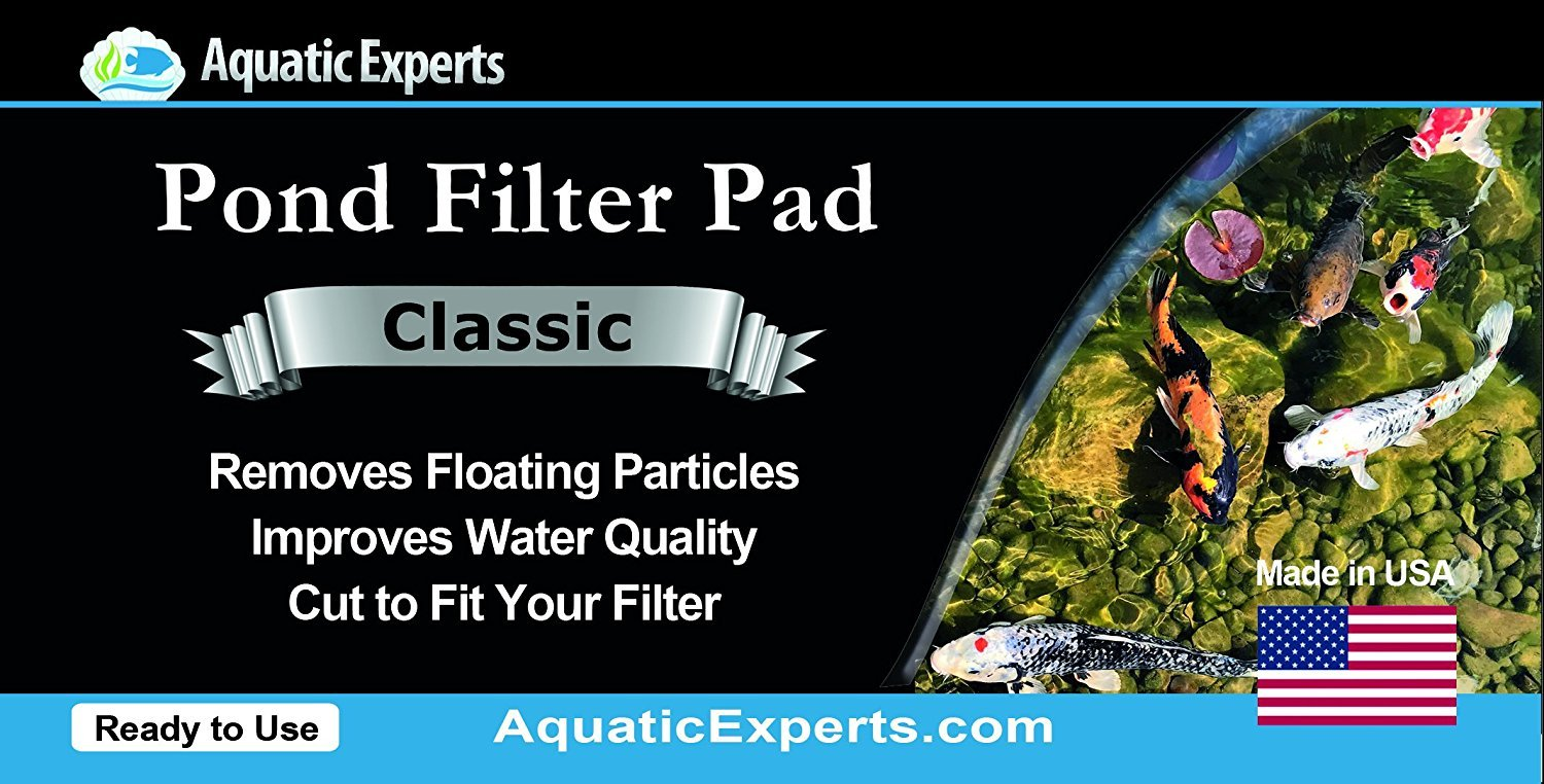 Classic Koi Pond Filter Pad COARSE - 18 Inches by 72 Inches by 3/4 inch to 1 Inch – BLACK Bulk Roll Pond Filter Media, Rigid Ultra-Durable Latex Coated Fish Pond Filter Material by Aquatic Experts USA