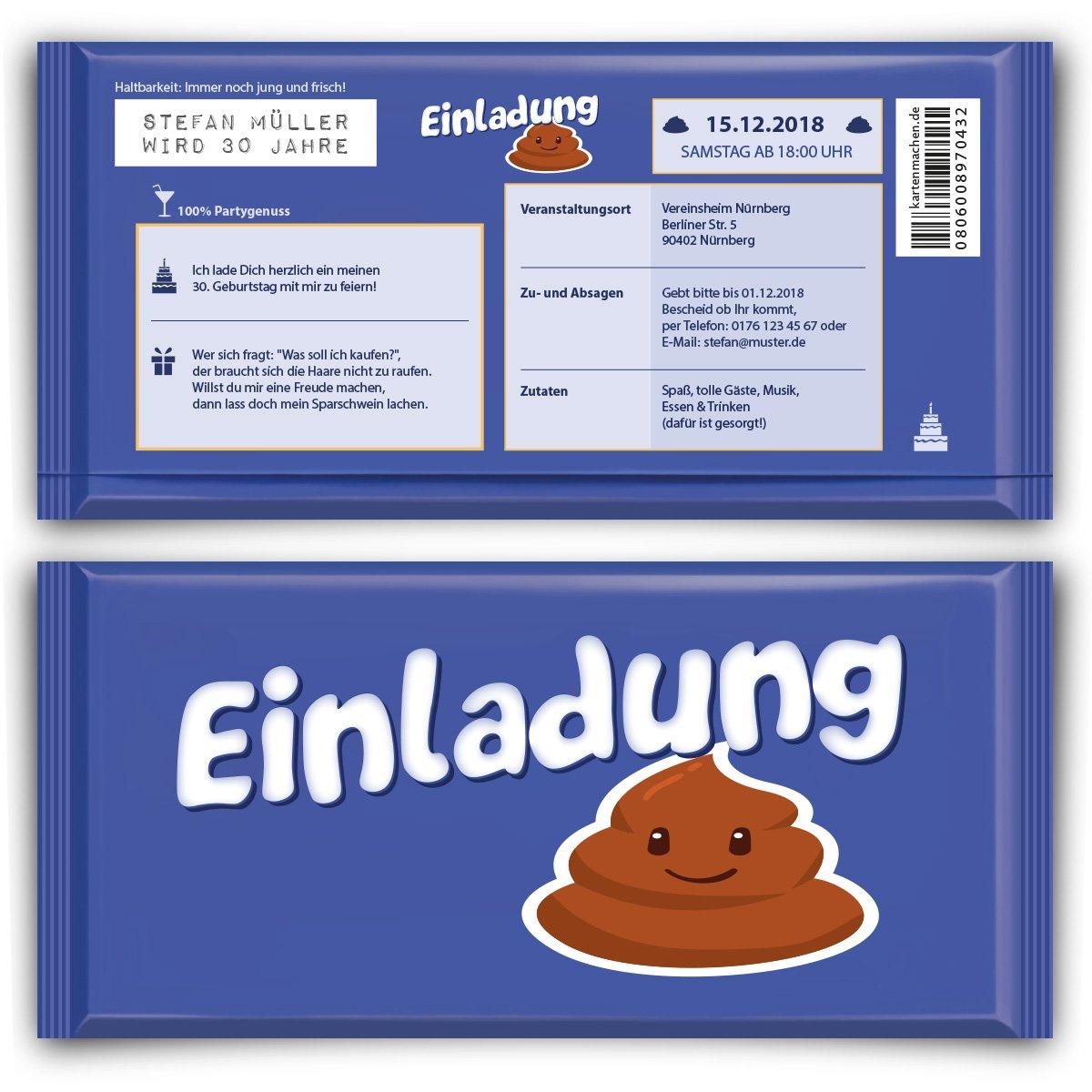 巧克力趣味生日邀请函