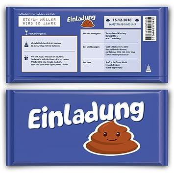 Einladungskarten Zum Geburtstag 50 Stuck Lila Schokolade Motiv
