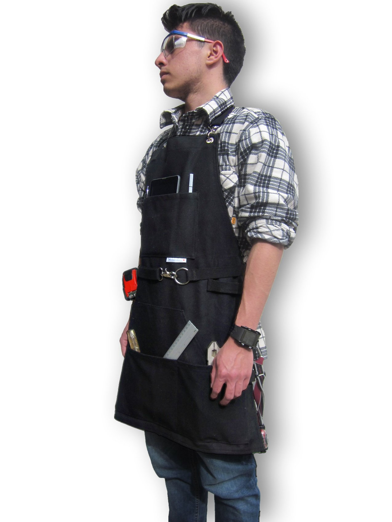 BEST CHOICE Waterproof All-Purpose Bib Apron - Workshop Waxed Canvas - 7x Pockets & 2 Shackles for Accessories & Tools - Totally Adjustable Neck and Waist Strap - Size S-XXL for Men & Women.