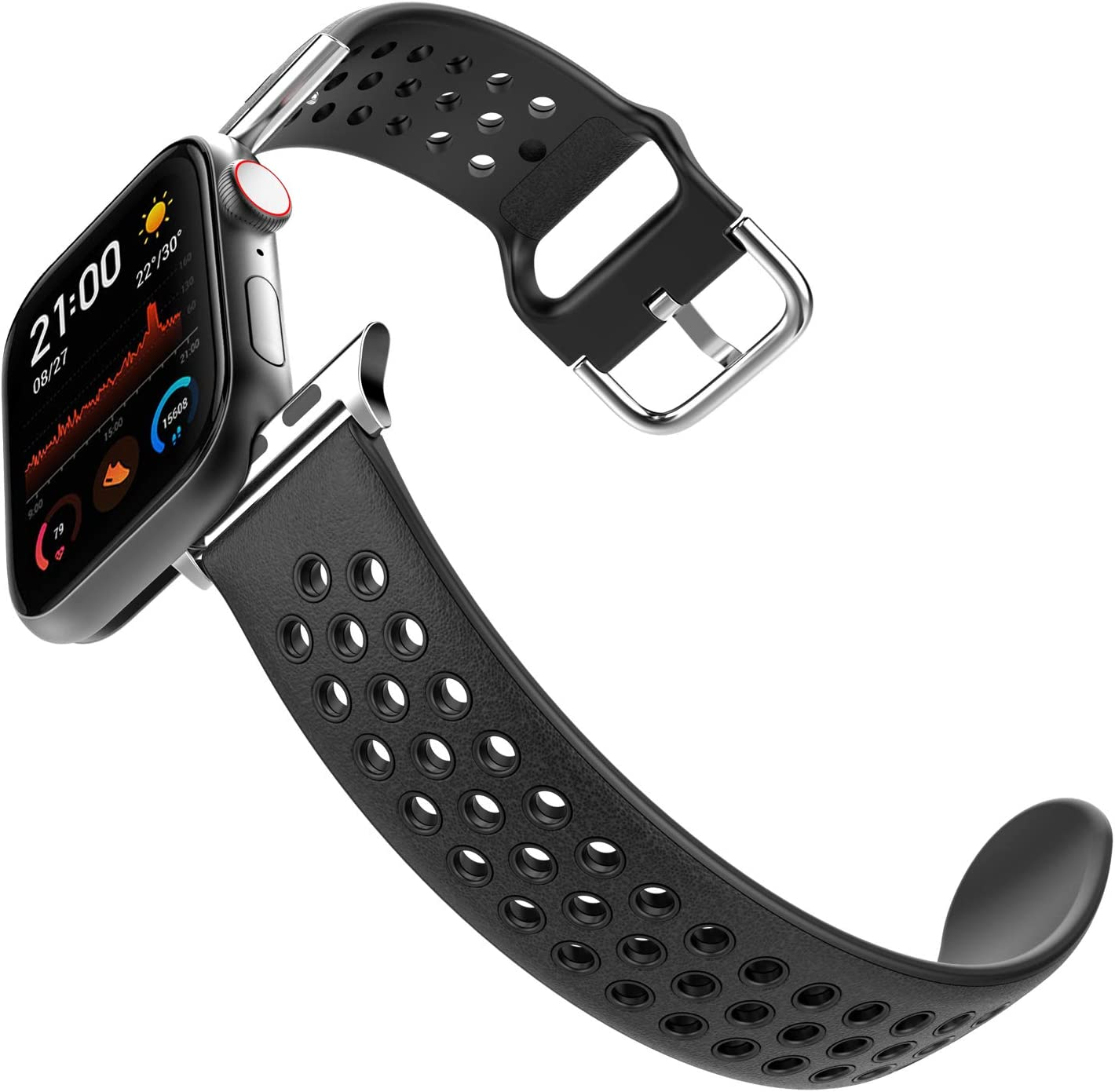 HALLEAST Compatible Apple Watch Band 42mm 44mm for Men, Leather Skin Soft TPU Waterproof Sport iWatch Bands for Series 1/2/3/4/5/6, Classic Black