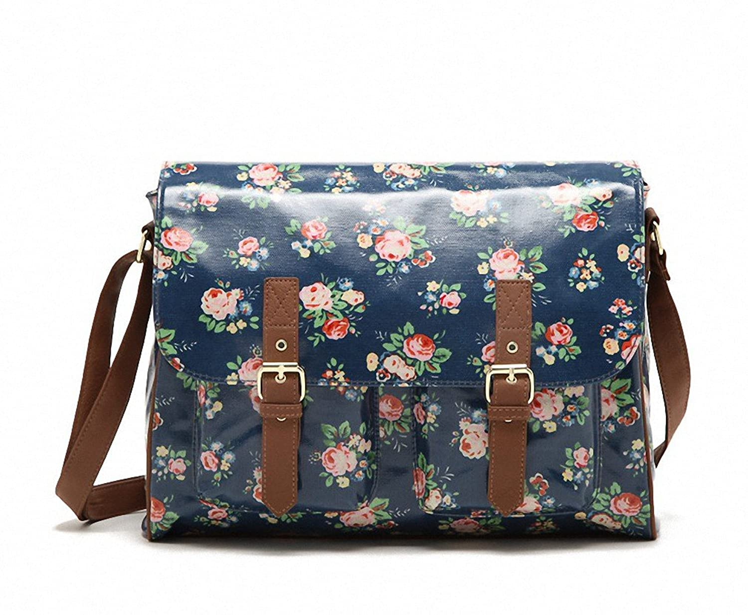 Amazon.com: Kenox Vintage Women Laminated Canvas Messenger Bag ...