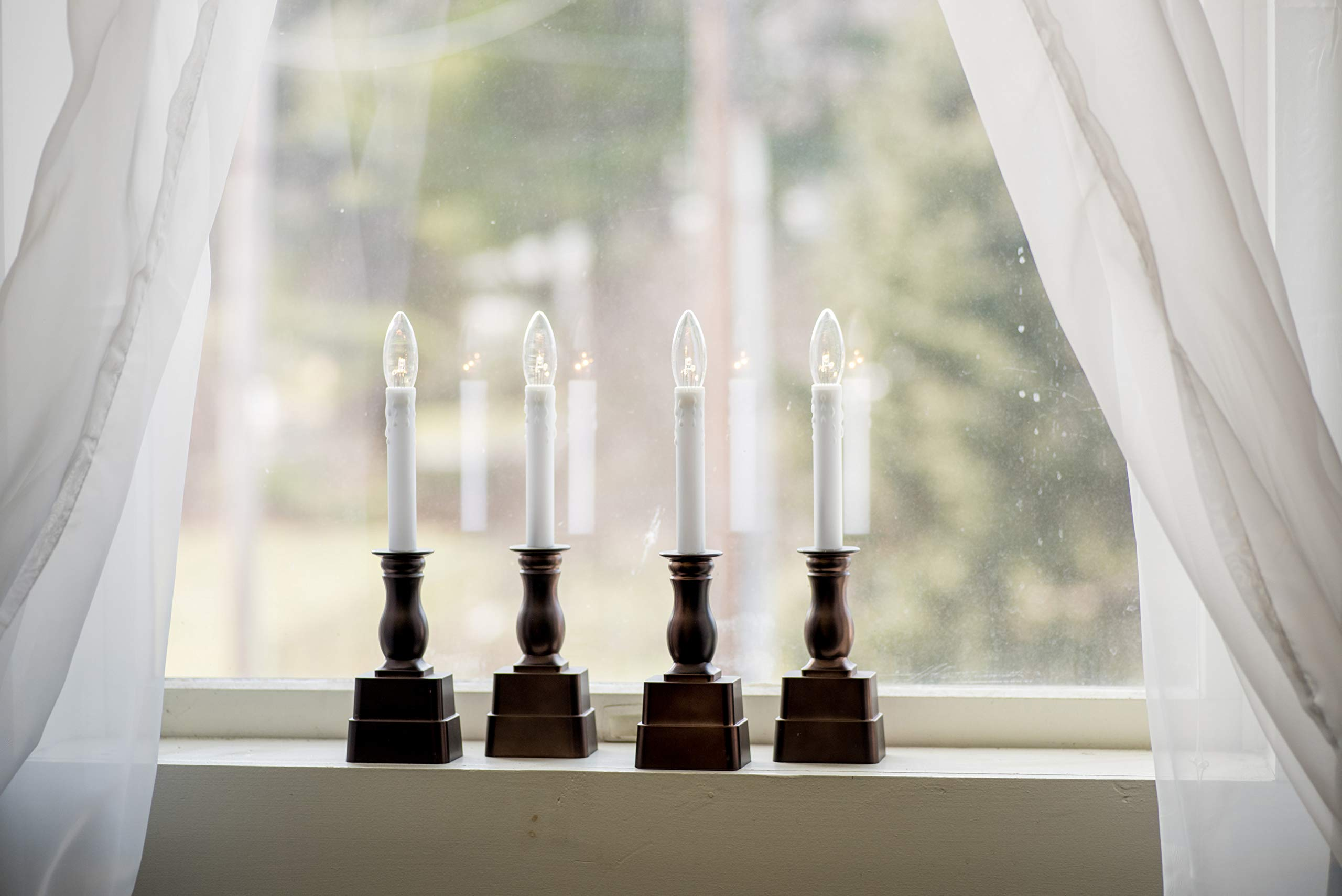 Boston Warehouse Allure Adjustable Height Indoor Flameless Window Candles with Timer, Set of 4, Battery Operated, Bronze by Boston Warehouse (Image #3)