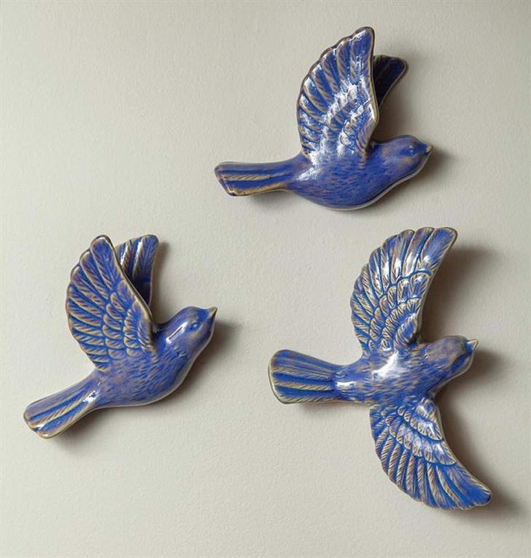 "CC Home Furnishings Set of 3 Ceramic Blue Bird Wall Decorative Figurines 6.5"" x 6"" x 1.25"""