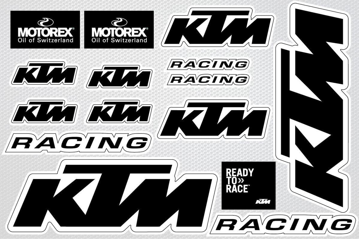 vinilo para aplicaciones interiores exteriores Adhesivos decorativos de motos y bicicletas decorativos adhesivos conjunto de tama/ños extra/íble individualmente de la hoja KTM Black