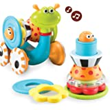 Yookidoo Musical Crawl N' Go Snail Toy with Stacker - Promotes Baby's Crawling and Walking. Rolls and Spins Its Shell As…