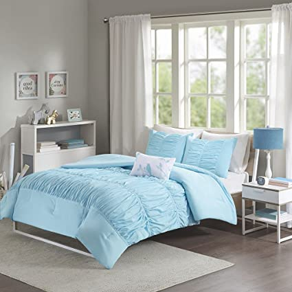 Modern Girls Kids Teen Bedding Aqua Light Blue Tufted Ruffled Ruched  Comforter Set Includes Bonus Sleep
