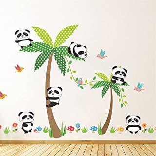 Rainbow Fox Panda Wall Sticker Climbing on The Tree for Kids Room Decoration