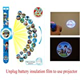 Digital Projection Watch with 20 Different Paw Patrol Images, Digital Quartz Blue Watch For Kids as Gift