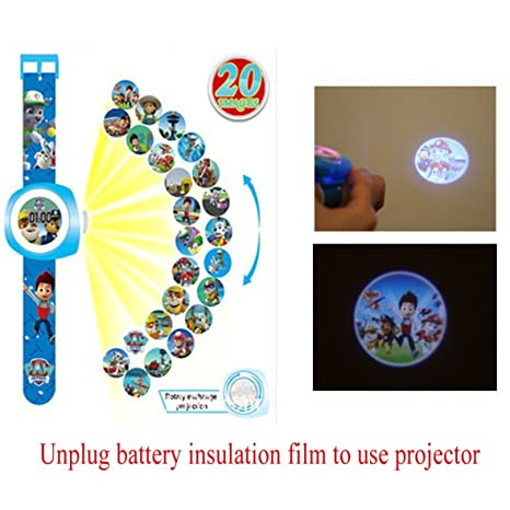 Reloj de proyección digital con 20 imágenes de patrulla de patas diferentes, reloj digital de