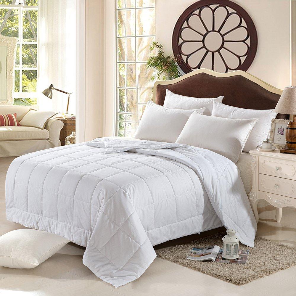 100% Silk Comforter All Season Luxury Silk Duvet with Cotton Covered, Machine Washable, Queen, 88×92 inch, Silk Weight: 1300g