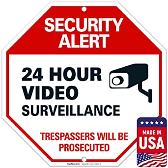Amazon.com: Letrero de video vigilancia, alerta de seguridad ...