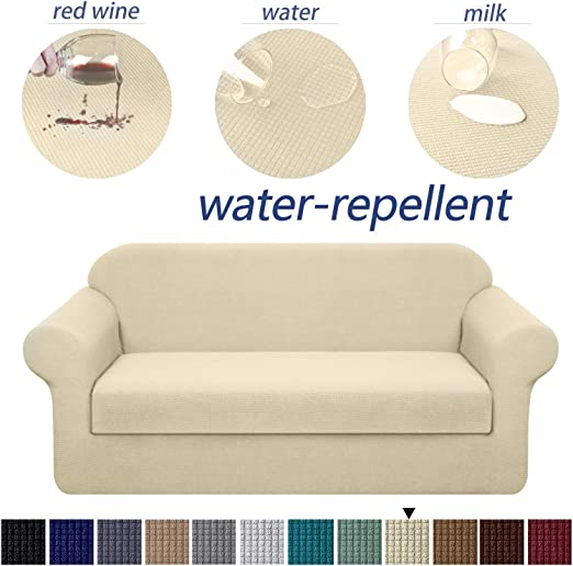 Medium, Khaki Granbest 3 Piece Premium Water-Repellent Couch Slipcover for 2 Cushion Couch Super Soft Loveseat Sofa Covers High Stretch Separate Cushion Couch Covers for Dogs Furniture Cover
