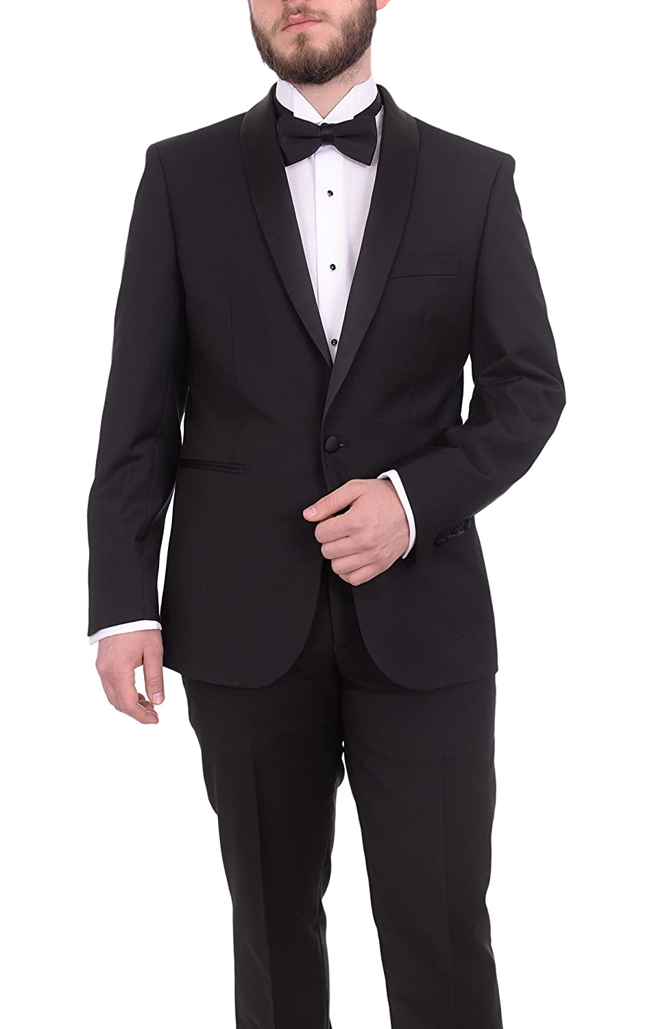 Gino Vitale Slim Fit Solid Gray One Button Tuxedo Suit With Satin Shawl Lapels