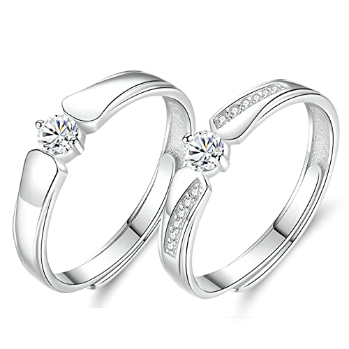 Amazon Com Eocot 2 Pcs S925 Couple Rings Set Adjustable Ring With