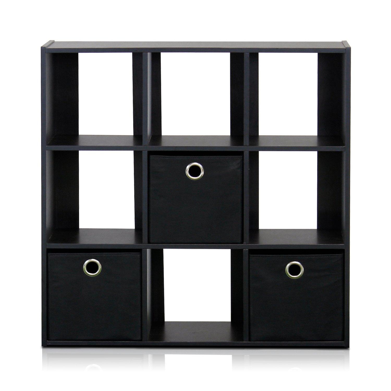 Amazon Com Furinno 13207ex Bk Simplistic 9 Cube Organizer With Bins Espresso Black Home Kitchen