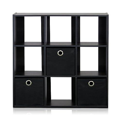 Furinno 13207EX BK Simplistic 9 Cube Organizer With Bins Espresso Black