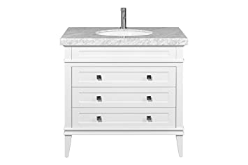 Versailles  Inch Freestanding Bathroom Vanity Single Sink  Drawers White Finish