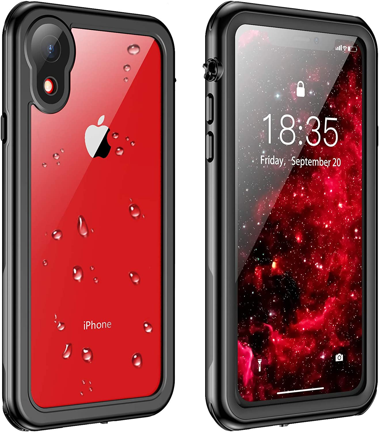 Justcool for iPhone XR Case Waterproof, Full Body with Built-in Screen Protector Rugged Clear Case for iPhone XR 6.1 inch (Black/Clear)