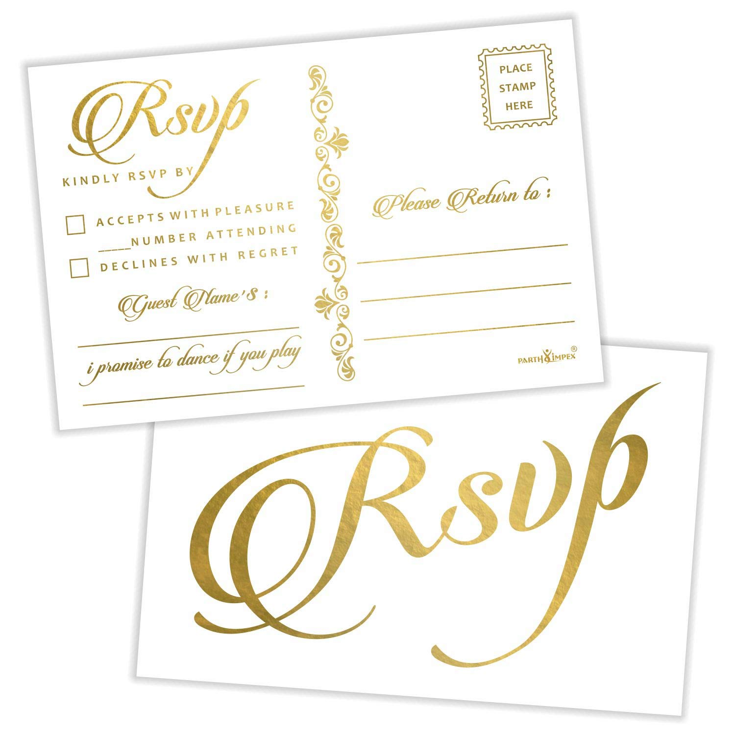 RSVP Postcards (Pack of 50) Gold Foil Stamping with Mailing Side 4''x6'' Response Cards All Occasion Mailable - White