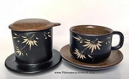 Cafetera eléctrica de cerámica, hecho a mano juego de cerámica para hacer café vietnamita: Amazon.es: Hogar