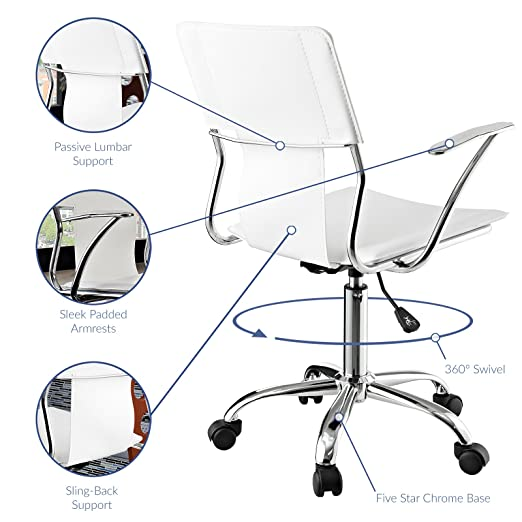 Amazon Modway Studio Faux Leather Swivel Task Office Chair In