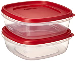 Rubbermaid 608866900580 7J71 Easy Find Lid Square 9-Cup Food Storage 2 Containers, 2, Red