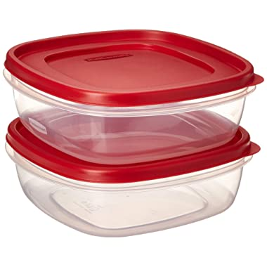 Rubbermaid 608866900580 7J71 Easy Find Lid Square 9-Cup Food Storage 2 Containers, 2 Red