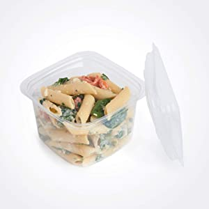 good natured Plant-Based Deli Containers with Lids – Multi-Purpose, Space Efficient, Freezer Safe Food Storage Containers - BPA-Free Deli Containers Size 16 Ounces, 50 Lids & Bases