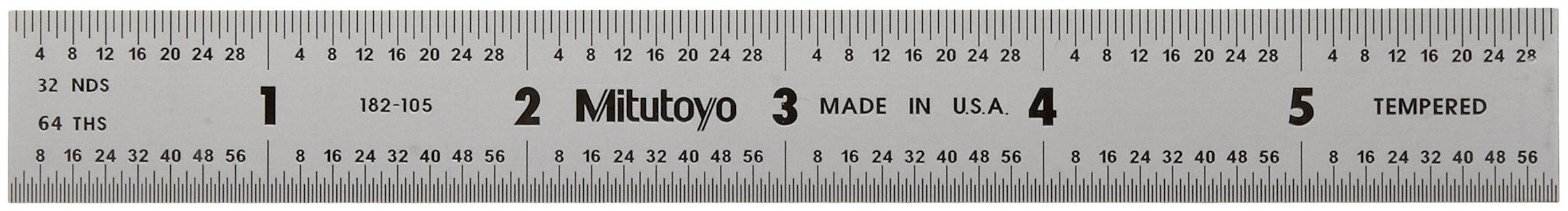 Mitutoyo 182-105, Steel Rule, 6'' X 150mm, (1/32, 1/64'', 1mm, 1/2mm), 3/64'' Thick X 3/4'' Wide, Satin Chrome Finish Tempered Stainless Steel