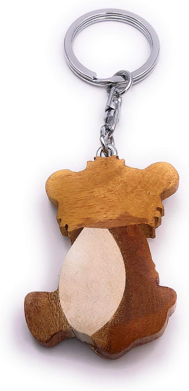 Handmade Holz Schlüsselanhänger Bär Teddyär Tier Kuscheltier süss Anhänger