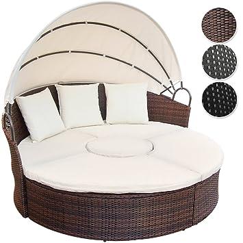 Miadomodo - Conjunto de sillones Isla - Anchura Total Ø Aprox. 180 cm - de polirratán marrón