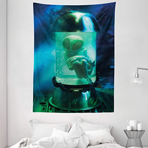 Ambesonne Outer Space Tapestry, Martian UFO Alien in a Aquarium Like Tube Artwork Image, Wall Hanging for Bedroom Living Room Dorm, 60 X 80 , Blue Green