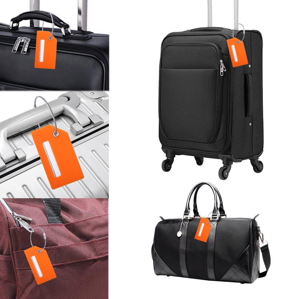 Silicone Luggage Tag With Name ID Card Perfect to Quickly Spot Luggage Suitcase (Plane 2Pcs Orange) by Ovener (Image #6)