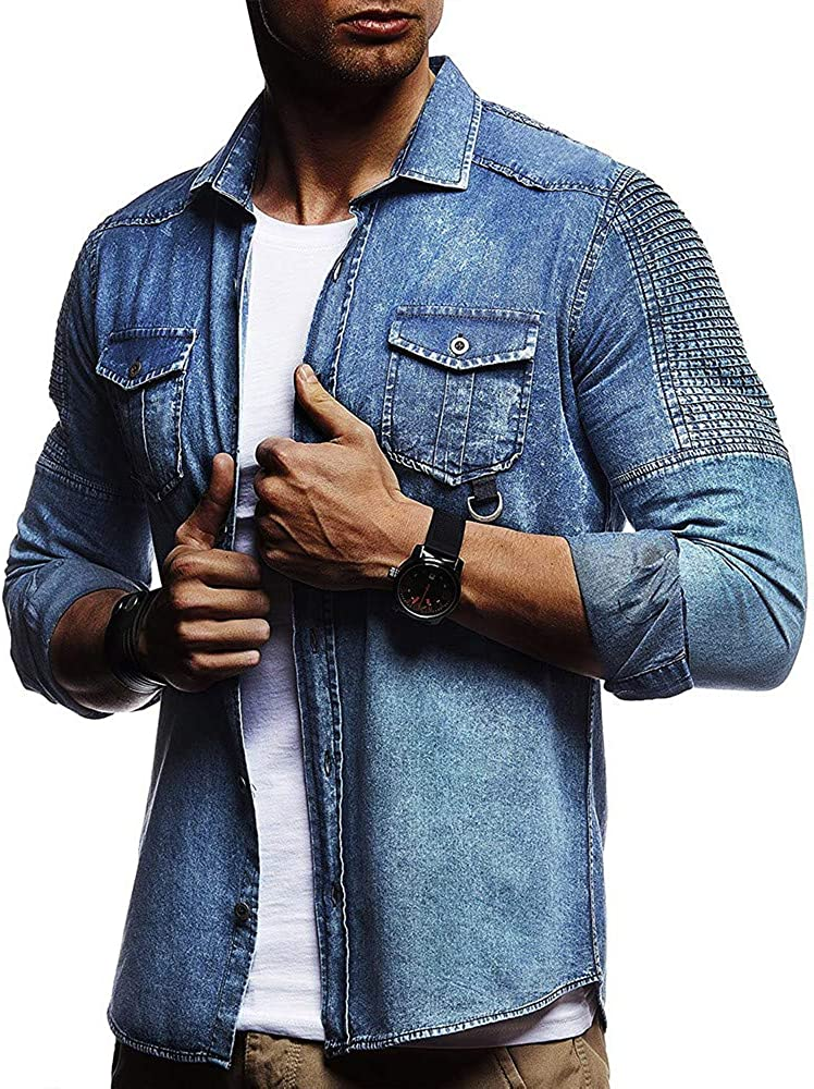 WJFGGXHK Men Solid Color Shirt Pleated Shoulder Cowboy Tees Tops Mens Slim Long Sleeve Denim Shirt Chest pocket Solid Shirt blue Gents Tops leisure travel dating